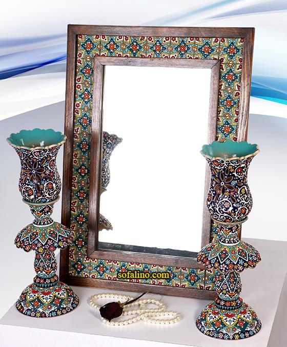 ست آیینه( ۵۴×۳۹) و شمعدان لاله ای1