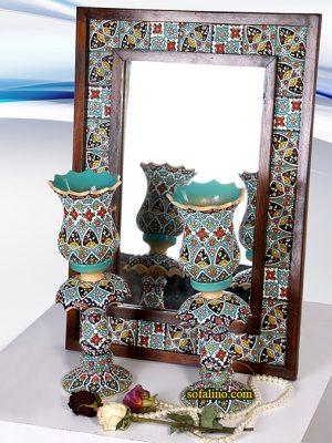 ست آیینه( ۵۴×۳۹) و شمعدان لاله ای35